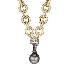 14K Yellow Gold, 14MM Pearl & Diamond Pendant Necklace