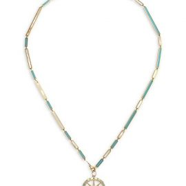 14K Yellow Gold, Turquoise & Mother-Of-Pearl North Star Compass Pendant Necklace