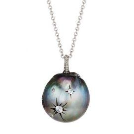 18K White Gold, 17MM Tahitian Pearl, & Diamond Pendant Necklace