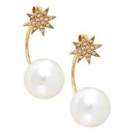 18K Yellow Gold Diamond Star Stud & 12MM Pearl Jacket Earrings