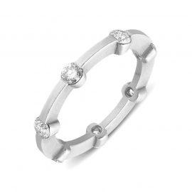 18ct Matte White Gold 0.35ct Diamond Seven Stone Eternity Ring