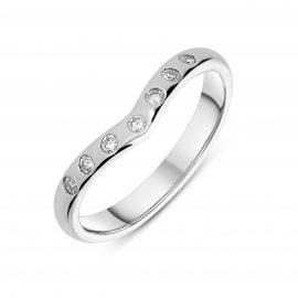 18ct White Gold 0.14ct Diamond Wishbone Wedding Ring