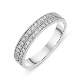 18ct White Gold 0.35ct Diamond Two Row Half Eternity Ring