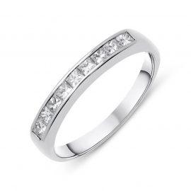 18ct White Gold 0.36ct Diamond Princess Cut Half Eternity Ring