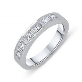 18ct White Gold 0.48ct Diamond Princess Cut Half Eternity Ring