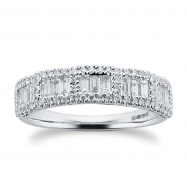 18ct White Gold 0.65ct Baguette Halo Eternity Rings - Ring Size M