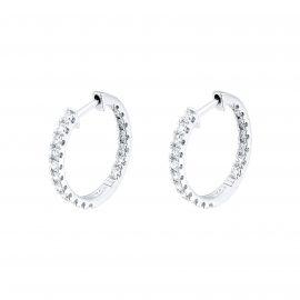 18ct White Gold 1ct Diamond Hoop Earrings