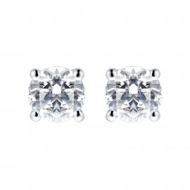 18ct White Gold 1cttw Diamond Solitaire Stud Earrings
