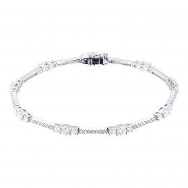 18ct White Gold 3.8cttw Diamond Graduated Tennis Bracelet
