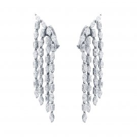 18ct White Gold 6.52cttw Diamond Velvet Earrings
