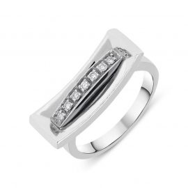 18ct White Gold Diamond Pave Set Curved Oblong Ring