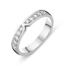 18ct White Gold Diamond Pave Set Wedding Ring