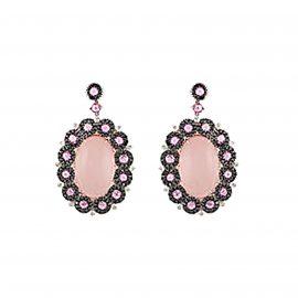 18ct White Gold Diamond Pink Sapphire and Quartz Earrings