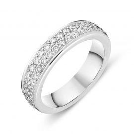 18ct White Gold Diamond Two Row Half Eternity Ring