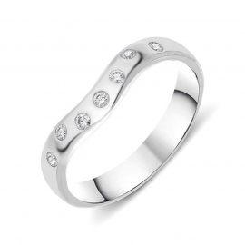 18ct White Gold Diamond Wishbone Wedding Ring
