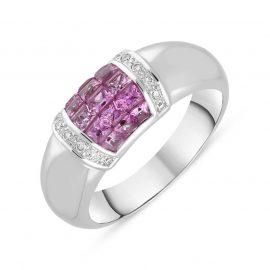 18ct White Gold Pink Sapphire Diamond Ring