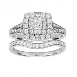 18ct White Gold Princess Cut 1.00cttw Diamond Bridal Set - Ring Size K