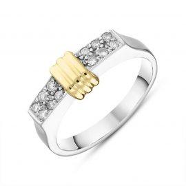 18ct White Gold Yellow Gold Rondelle Diamond Set Oblong Ring