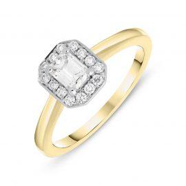 18ct Yellow Gold 0.47ct Diamond Emerald Cut Halo Ring