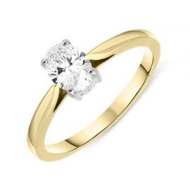 18ct Yellow Gold 0.55ct Diamond Oval Cut Solitaire Ring