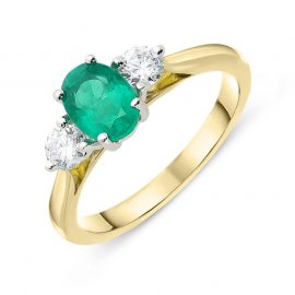 18ct Yellow Gold 0.70ct Emerald Diamond Oval Trilogy Ring