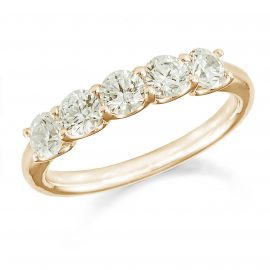 18ct Yellow Gold 0.75ct Five Stone Eternity Ring - Ring Size J