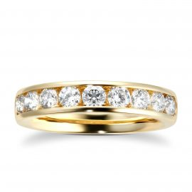 18ct Yellow Gold 1.00cttw Diamond Channel Set Eternity Ring - Ring Size I
