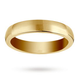 18ct Yellow Gold 4mm Heavy Court Wedding Ring - Ring Size L