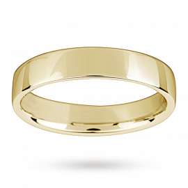 18ct Yellow Gold 4mm Light Low Domed Wedding Ring - Ring Size L
