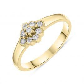 18ct Yellow Gold Diamond Rhombus Shape Cluster Style Ring