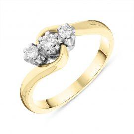 18ct Yellow Gold Diamond Three Stone Claw Set Twisted Ring