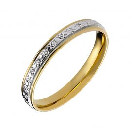 18ct Yellow Gold and Palladium Diamond Cut Eternity Ring