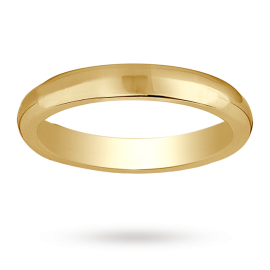 18ct Yellow Gold 3mm Heavy Court Wedding Ring