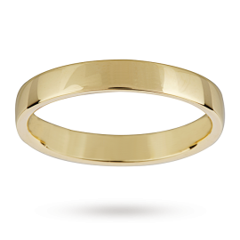 18ct Yellow Gold 3mm Light Low Domed Wedding Ring