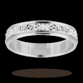 4mm Ladies diamond cut wedding band in 18 carat white gold Ring Size Z.5