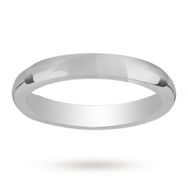 Mappin & Webb 3mm heavy court ladies wedding ring in platinum - Ring Size K