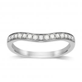 18ct White Gold 0.20cttw Diamond Wedding Ring - Ring Size K