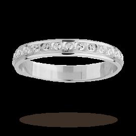 3mm Ladies diamond cut wedding band in 18 carat white gold - Ring Size K