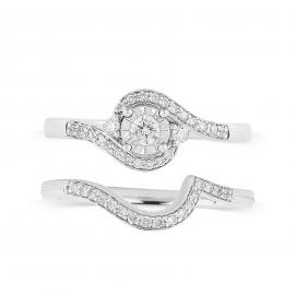 9ct White Gold Illusion 0.33ct Diamond Bridal Set - Ring Size L