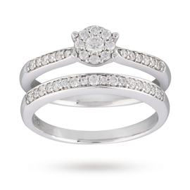 Brilliant Cut 0.35 Carat Diamond Bridal Set in 9 Carat White Gold - Ring Size M