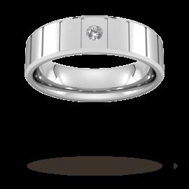 6mm Brilliant Cut Diamond Set with Vertical Lines Wedding ...