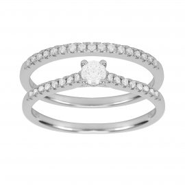 9ct White Gold 0.50ct Diamond Bridal Set - Ring Size L