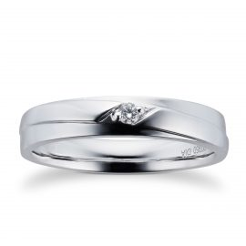 9ct White Gold Mens 0.05cttw Diamond Wedding Ring