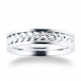 9ct White Gold Plait Pattern Mens Wedding Ring - Ring Size P