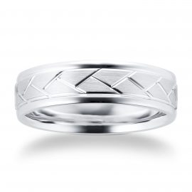 9ct White Gold Tread Pattern Mens Wedding Ring - Ring Size S