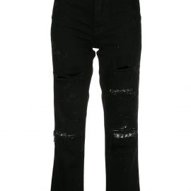 AMIRI cropped distressed jeans - Black