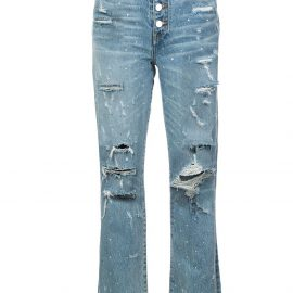 AMIRI crystal studded straight jeans - Blue