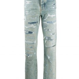 AMIRI ripped straight-leg jeans - Blue