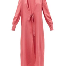 Adriana Degreas - Tie-front Silk Robe - Womens - Pink