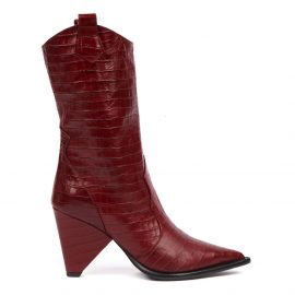Aldo Castagna Red Cocodrile Effect Leather Boot